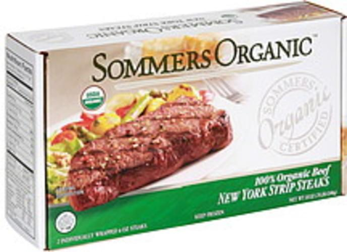 Sommers Organic 100% Organic Beef New York Strip Steaks - 2 ea