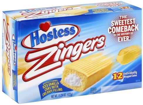 Hostess Iced Vanilla Zingers - 12 ea, Nutrition Information