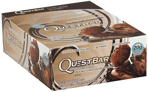 Quest Bar Double Chocolate Chunk Flavor Protein Bars - 12 ea