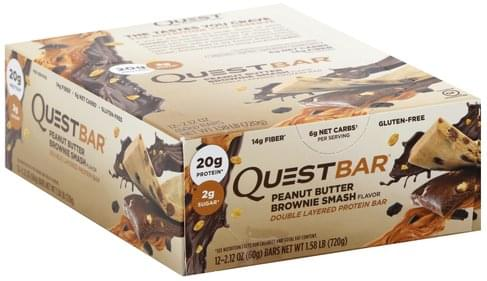 Quest Bar Double Layered, Peanut Butter Brownie Smash Flavor Protein Bar - 12 ea