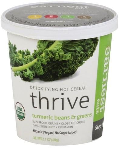 Earnest Eats Detoxifying, Thrive, Turmeric Beans & Greens Hot Cereal - 2.1 oz