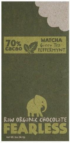 Fearless Matcha Green Tea Peppermynt Raw Organic Chocolate - 2 oz