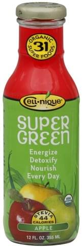 Cell nique Organic, Apple Super Green Drink - 12 oz