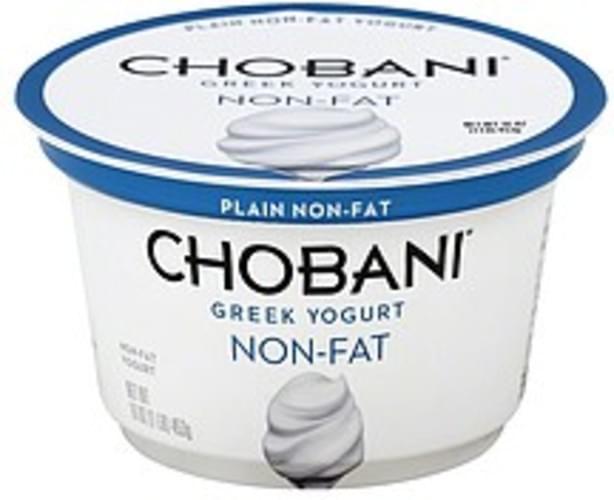Chobani Greek, Non-Fat, Plain Yogurt - 16 oz