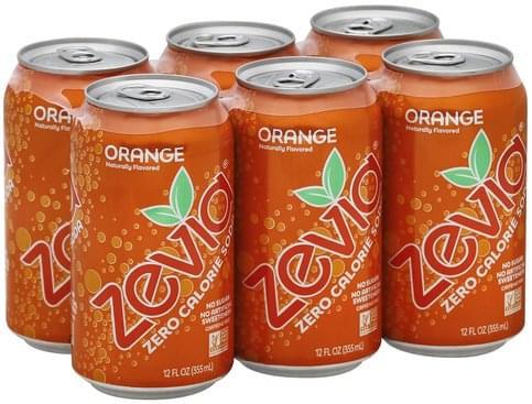 Zevia Zero Calorie, Orange Soda - 6 ea
