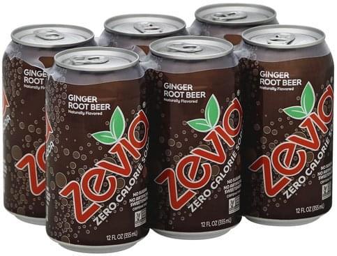 Zevia Zero Calorie, Ginger Root Beer Soda - 6 ea