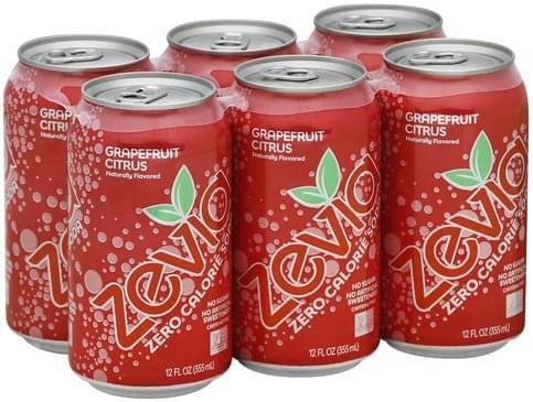Zevia Zero Calorie, Grapefruit Citrus, Caffeine Free Soda - 6 ea