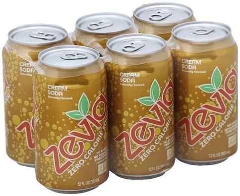 Zevia Zero Calorie, Cream, Caffeine Free Soda - 6 ea