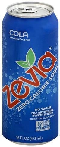 Zevia Zero Calorie, Cola Soda - 16 oz