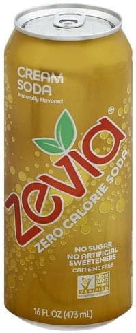 Zevia Zero Calorie, Cream Soda, Caffeine Free Soda - 16 oz