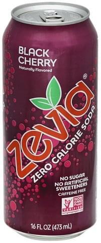 Zevia Zero Calorie, Black Cherry, Caffeine Free Soda - 16 oz