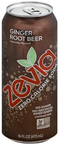 Zevia Zero Calorie, Ginger Root Beer, Caffeine Free Soda - 16 oz