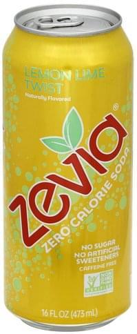 Zevia Zero Calorie, Lemon Lime Twist, Caffeine Free Soda - 16 oz