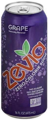 Zevia Zero Calorie, Grape, Caffeine Free Soda - 16 oz