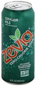 Zevia Soda Zero Calorie, Ginger Ale, Caffeine Free