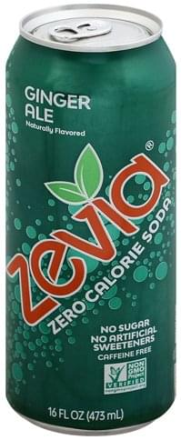 Zevia Zero Calorie, Ginger Ale, Caffeine Free Soda - 16 oz