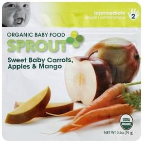 Sprout Baby Food Organic, Sweet Baby Carrots, Apples & Mango, 2