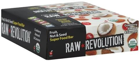 Raw Revolution Fruit, Nut & Seed, Cranberry Almond & Coconut Super Food Bar - 12 ea